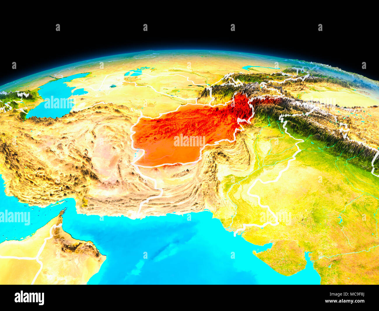 Afghanistan map red border stock photos afghanistan map red border satellite view of afghanistan highlighted in red on planet earth with borderlines 3d illustration gumiabroncs Image collections