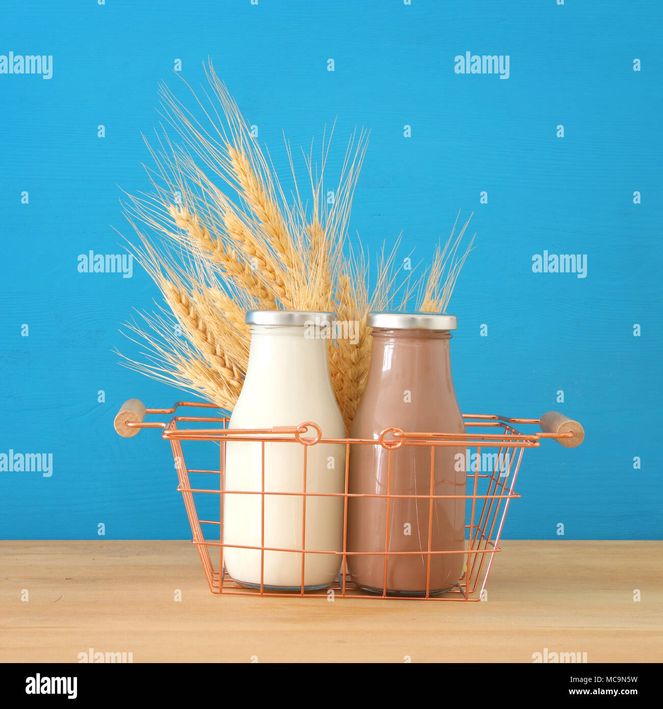 Image Of Milk And Chocolate Over Wooden Table Symbols Of Jewish