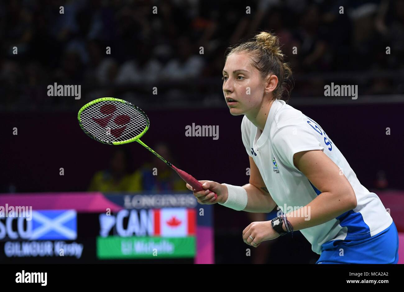 Gold Coast, Australia, 14 April 2018. Kirsty Gilmour (SCO). Womens singles. Bronze medal match. Badminton. XXI Commonwealth games. Carrara Sports Hall 2. Gold Coast 2018. Queensland. Australia. 14/04/2018. Credit: Sport In Pictures/Alamy Live News - Stock Image