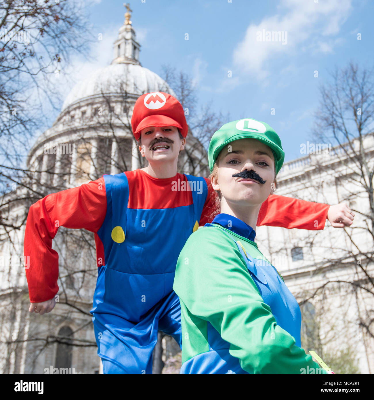 London, UK.  14 April 2018.  Followers of cosplay pose during the Games Character Parade.  The parade is part of the London Games Festival with a route from Guildhall Yard to St. Paul's Cathedral.  Credit: Stephen Chung / Alamy Live News - Stock Image