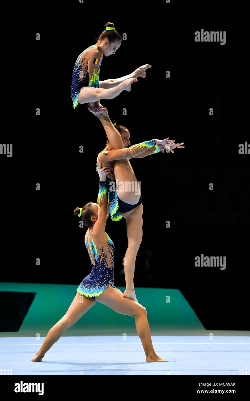 Antwerp, Belgium. 14th Apr, 2018. Anna Hyde, Eva Hyde and Lena de Moor (BEL) are competing Women's Group Final during the 26th World Championships Acrobatics Gymnastics 2018 at Lotto Arena on Saturday, 14 April 2018. ANTWERP, BELGIUM. Credit: Taka G Wu Credit: Taka Wu/Alamy Live News - Stock Image