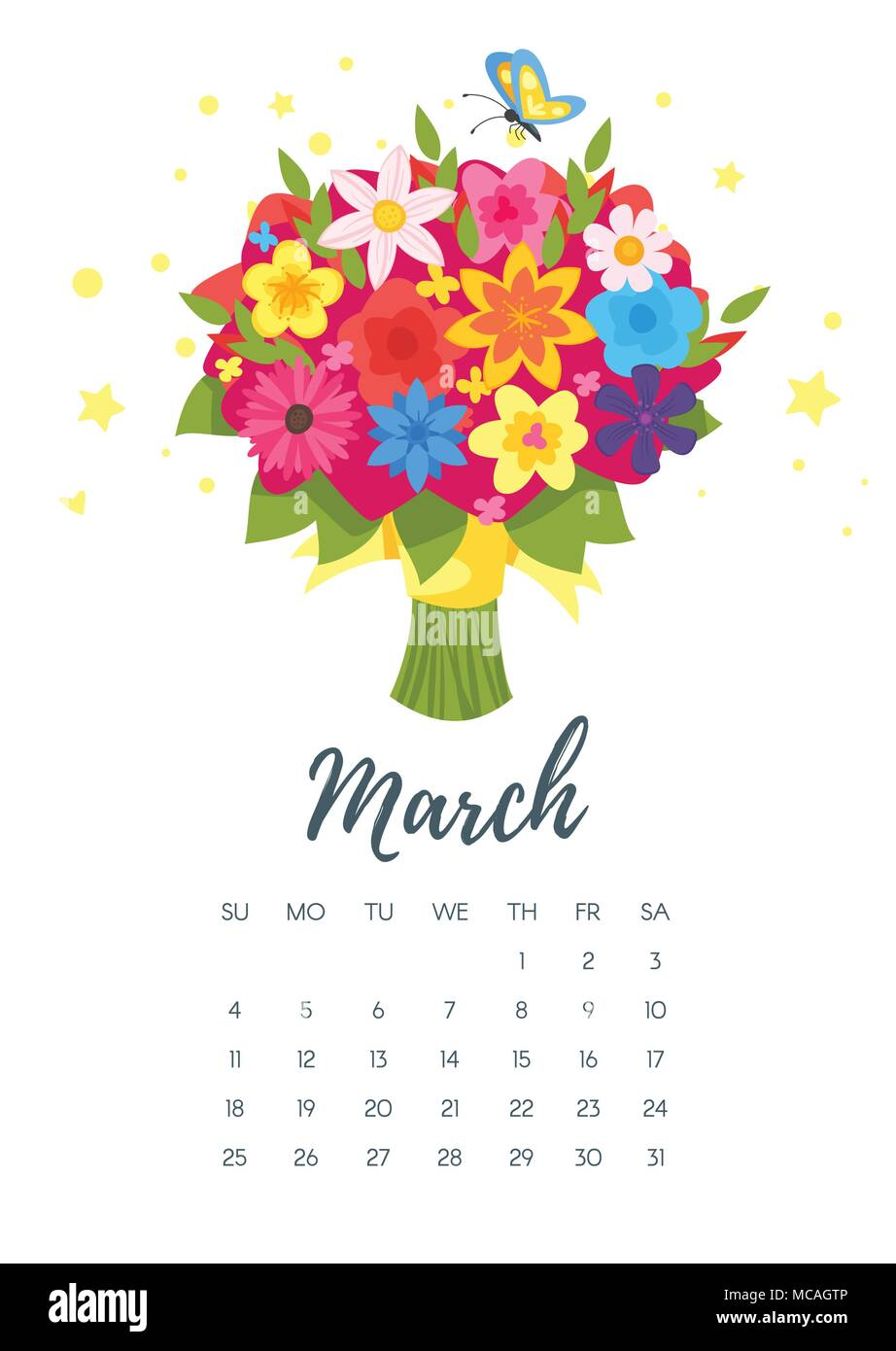 Vector cartoon style illustration of March 2018 year calendar page ...