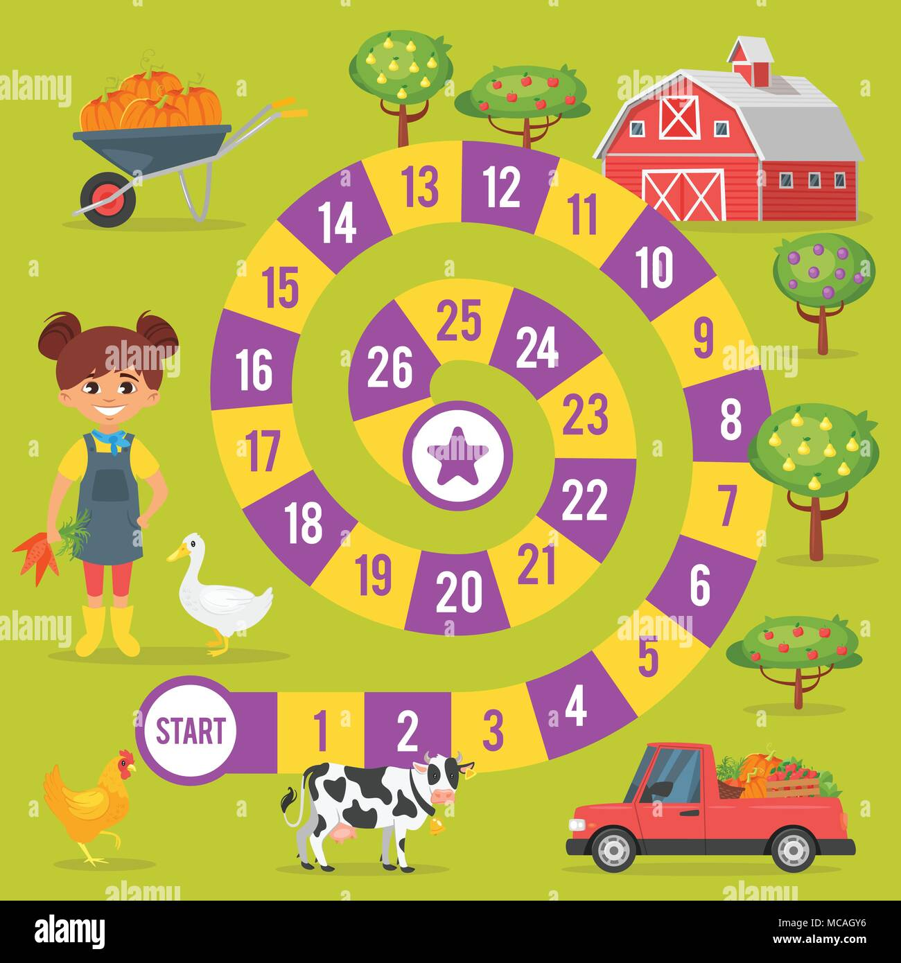 Vector Flat Style Illustration Of Kids Farm Board Game Template For