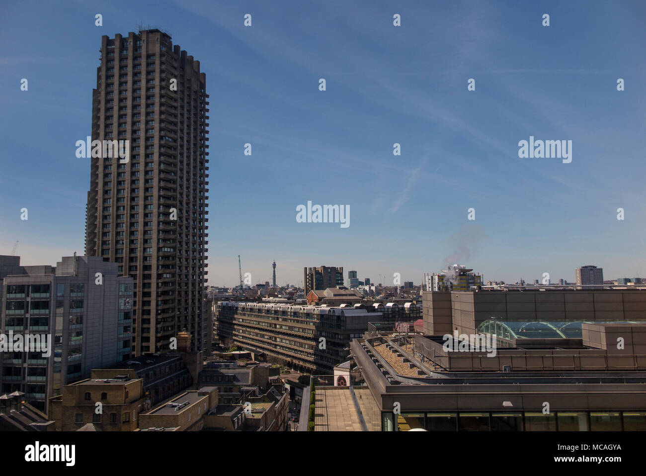 The barbican centre and London skyline, right through to the BT Tower - Stock Image