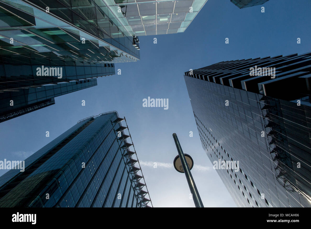 A dramatic view of the Heron Building and surrounding - Stock Image