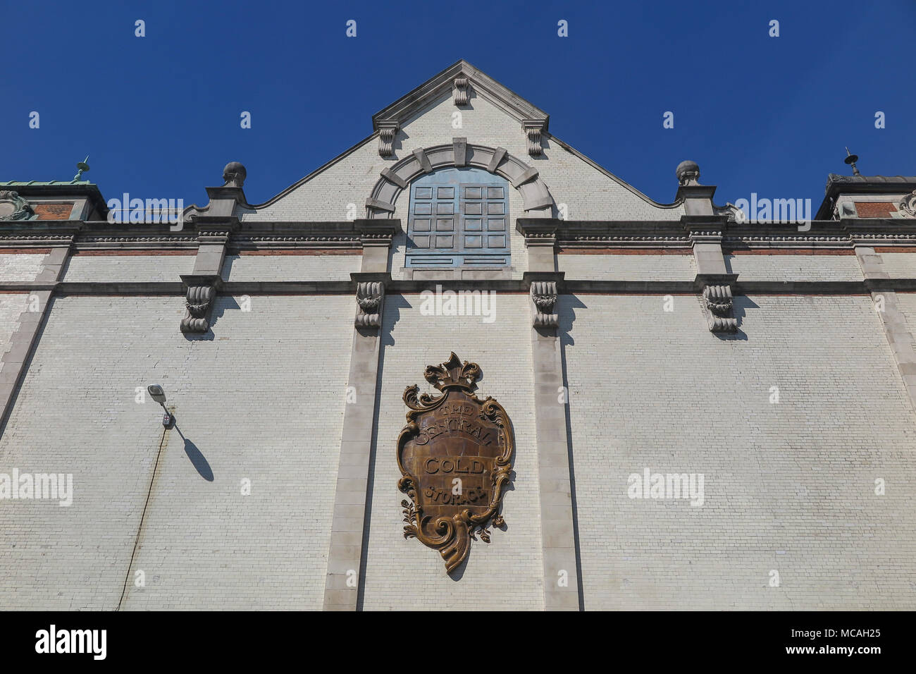 The Central Cold Storage crest at on a historic building in Charterhouse Street London England, near Smithfields market - Stock Image