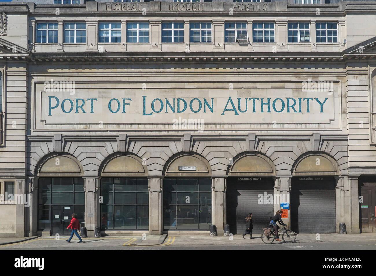 Port of London Authority sign on a historic building in Charterhouse Street London England, near Smithfields market - Stock Image