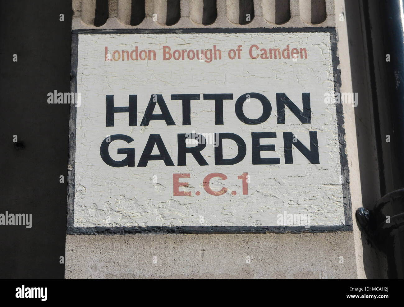 An old, painted traditional sign for London's famous Hatton Garden in London - Stock Image