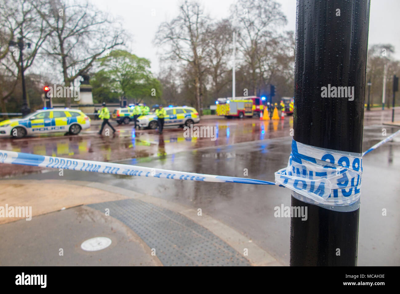 Police and Fire brigade on the Mall near Buckingham Palace following a suspect vehicle outside the royal palace - Stock Image