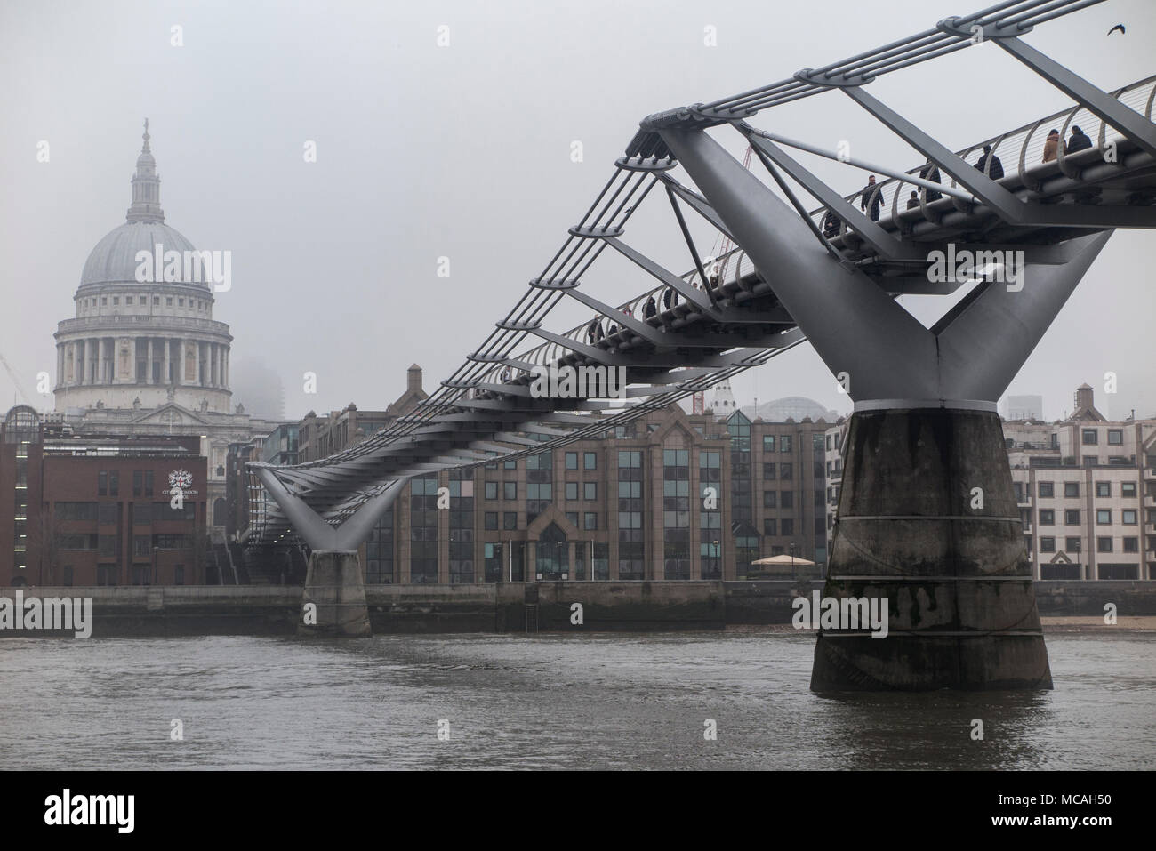 St Paul's Cathedral on a grey, cold day in London - Stock Image