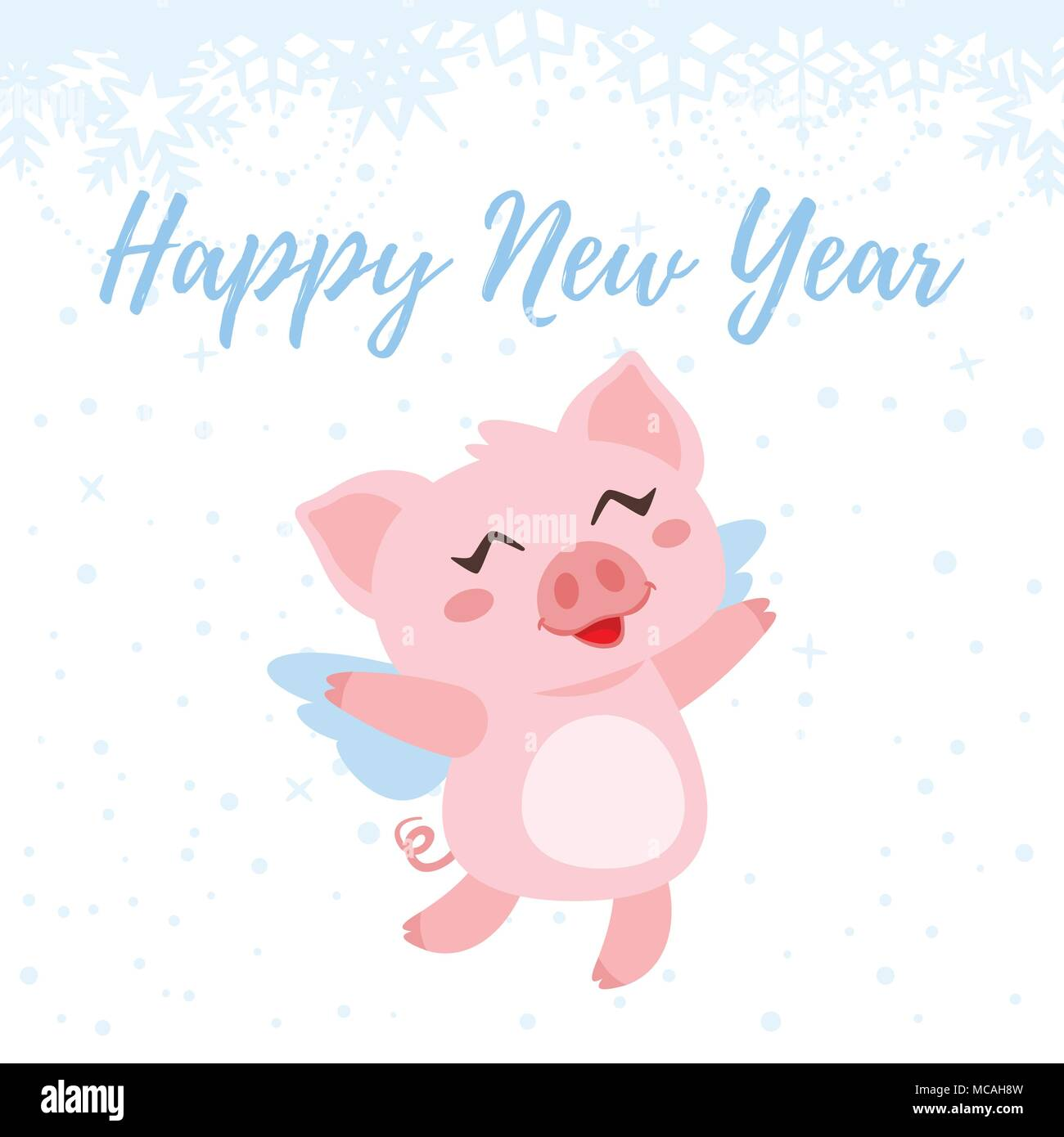 Vector cartoon style illustration of Happy 2019 New Year greeting ...