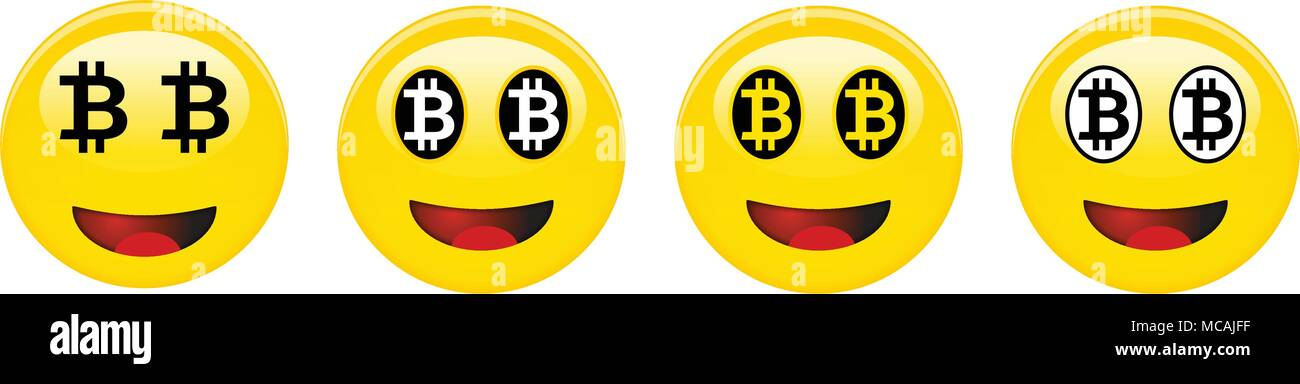 Bitcoin Smiley Emoticon Yellow Laughing 3d Emoji With Black And