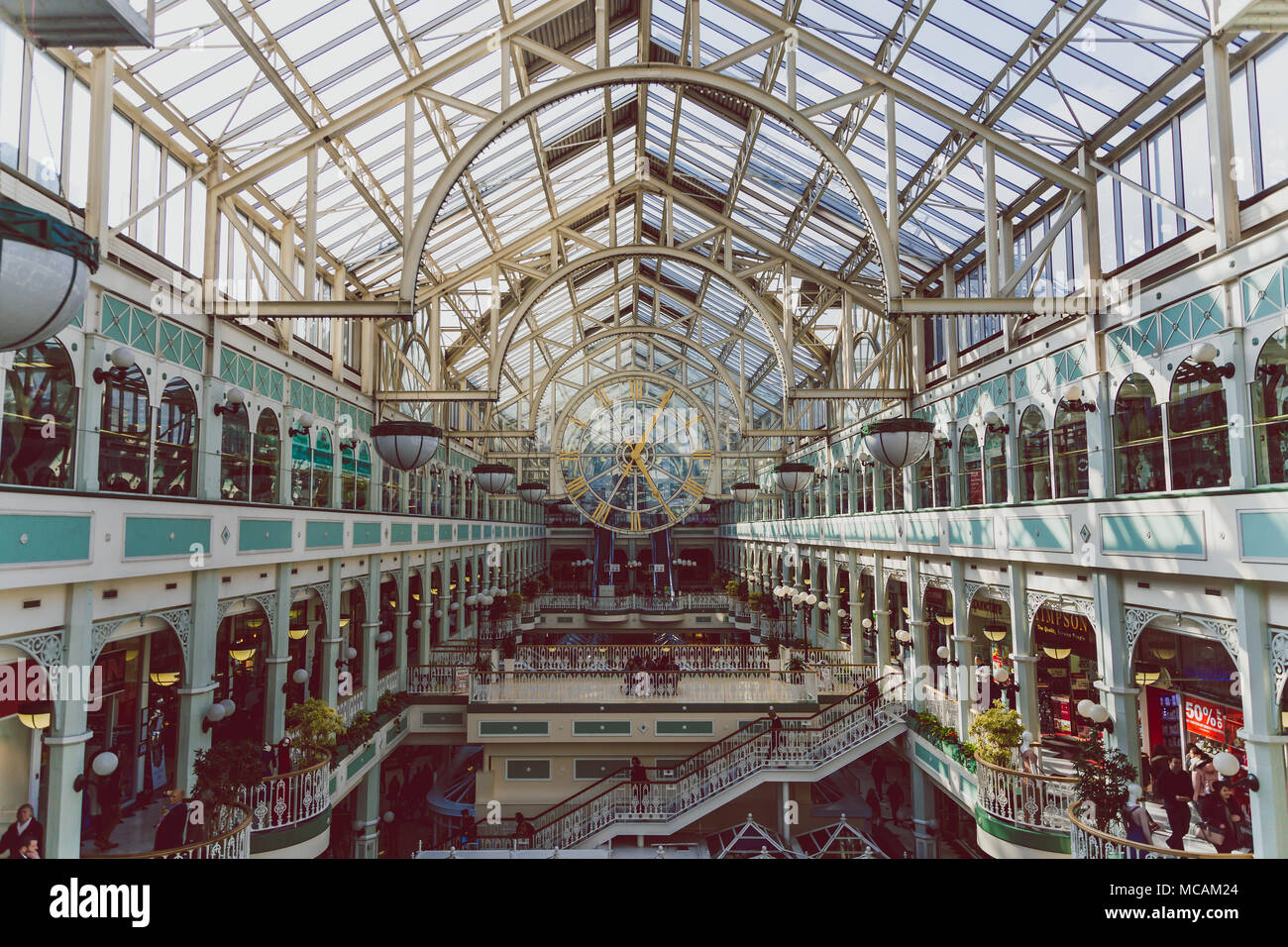 DUBLIN, IRELAND - April 14th, 2018: wide-angle view of the interior of Stephen's Green shopping centre in Dublin city centre - Stock Image