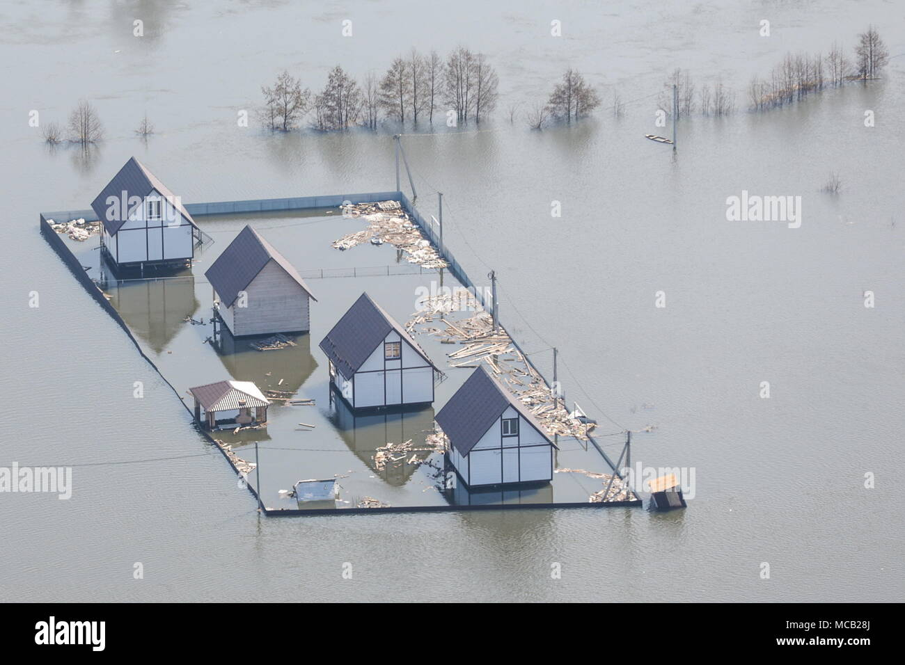 Russia. 15th Apr, 2018. VORONEZH REGION, RUSSIA - APRIL 15, 2018: A view from an Emercom helicopter over a village hit by spring floods in the Voronezh Region. Mikhail Pochuyev/TASS Credit: ITAR-TASS News Agency/Alamy Live News - Stock Image