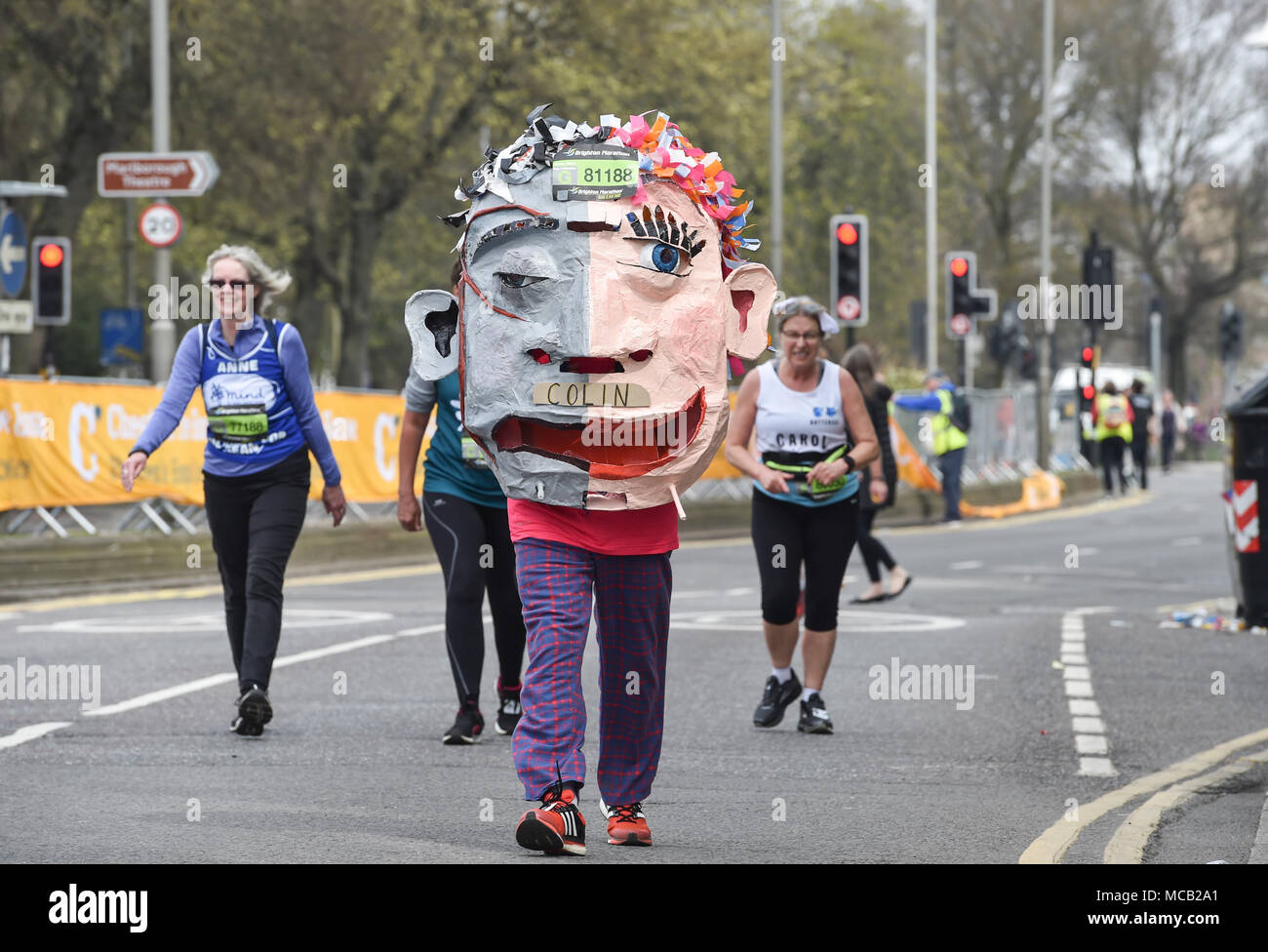 Brighton UK 15th April 2018 - Thousands of runners some in some interesting costumes take part in the Brighton Marathon today as the marathon season gets under way in the UK Credit: Simon Dack/Alamy Live News - Stock Image
