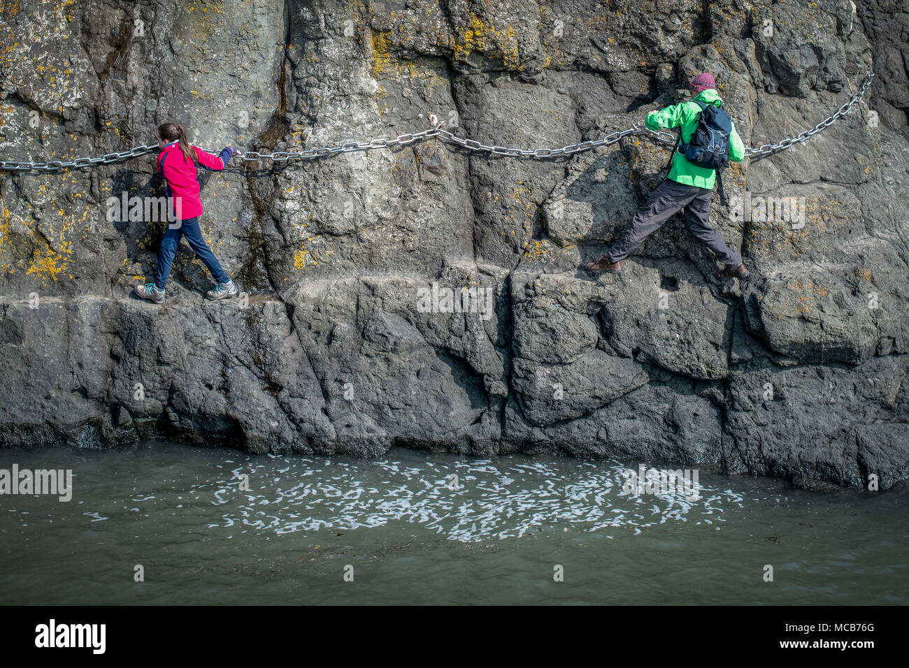 Elie UK Apr 15 2018; Elie Chain Walk in Fife is one of the most unique coastal walks in Scotland. credit steven scott taylor / alamy live news - Stock Image