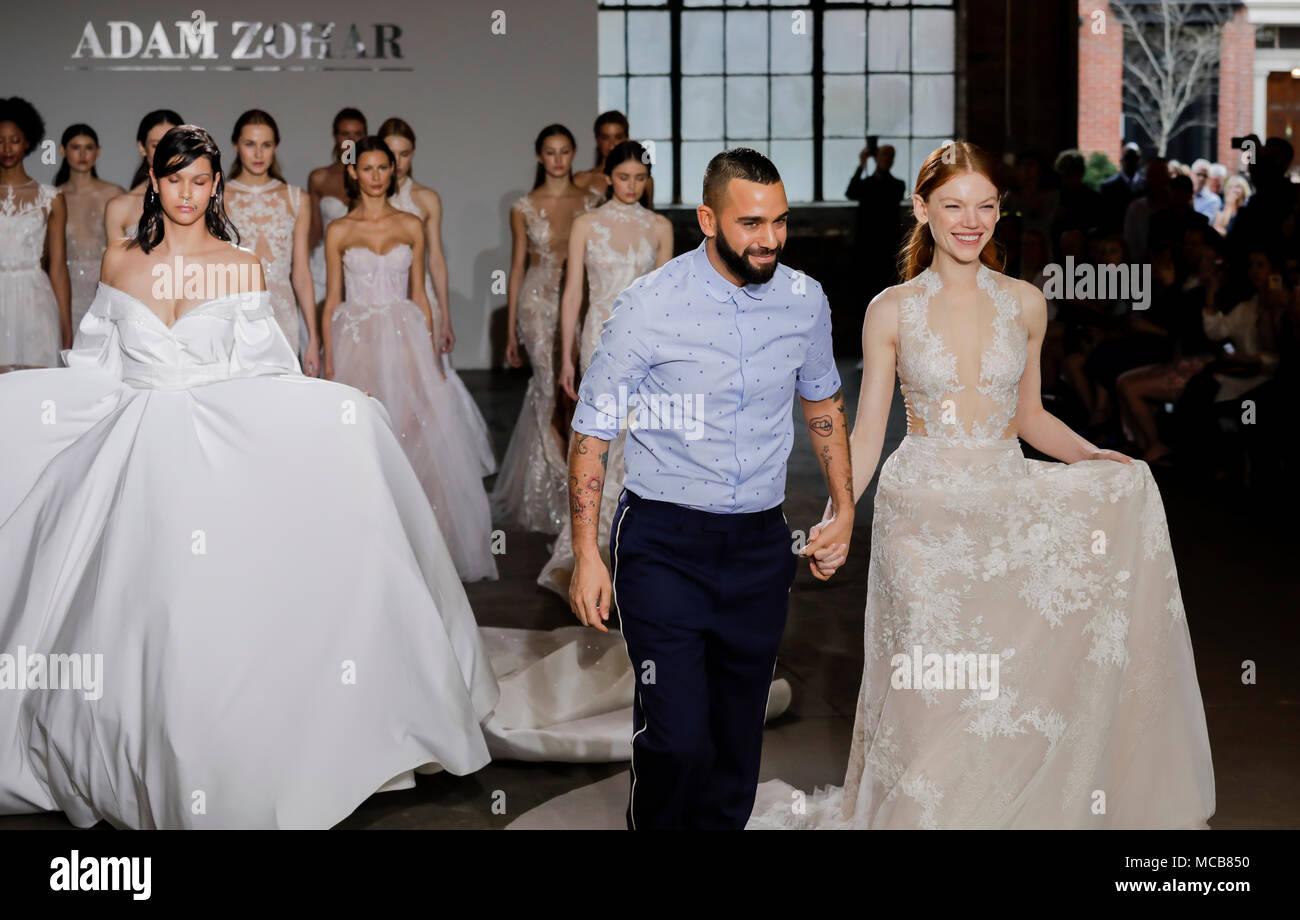 NEW YORK, NY, USA - APRIL 14, 2018: Fashion designer Adam Zohar with models walk runway for Adam Zohar collection during New York Bridal Week at Industria, Manhattan Credit: Sam Aronov/Alamy Live News - Stock Image