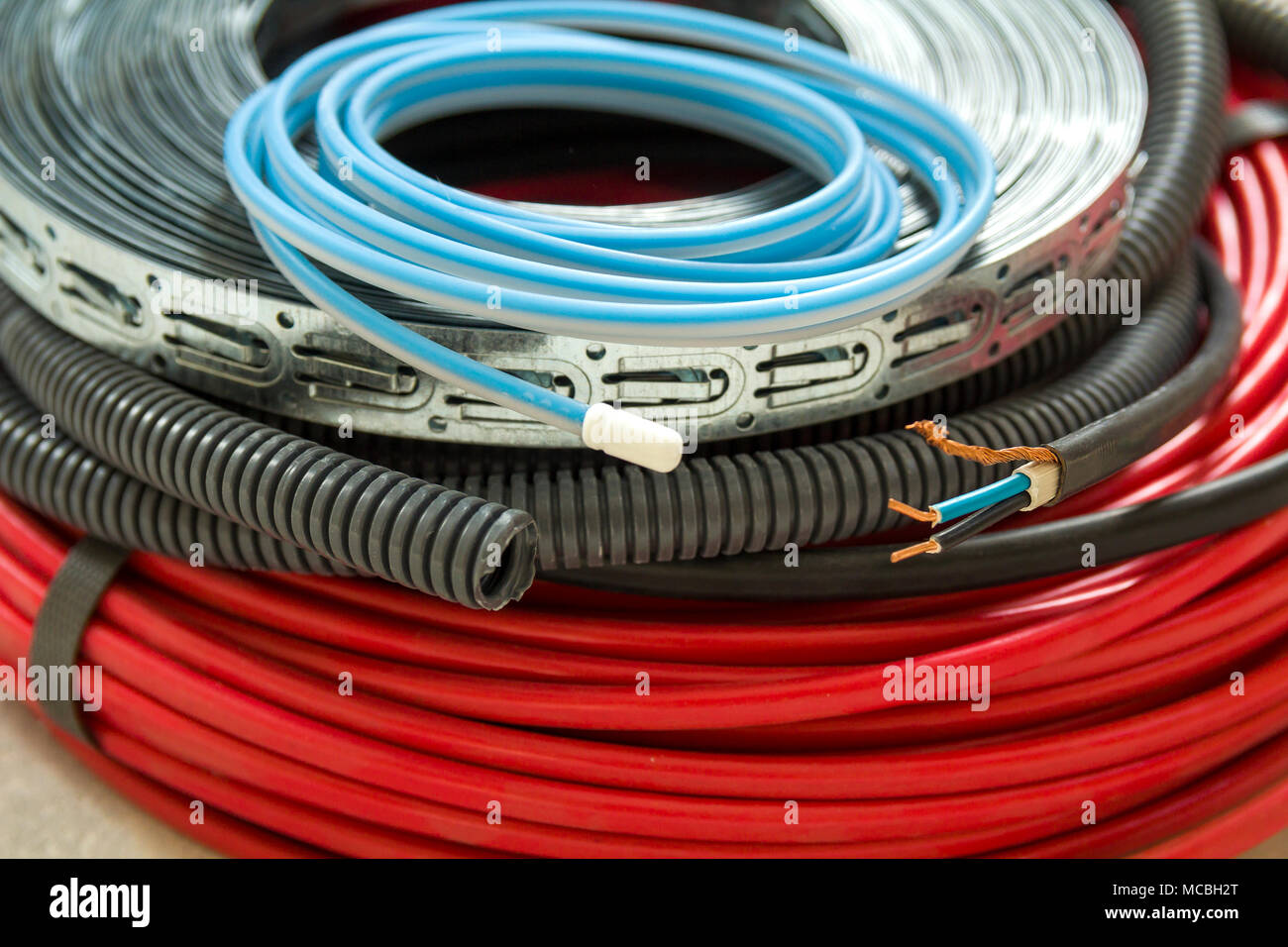Heating Floor System Wires And Cables Renovation Construction Wiring New House Technology Concept Comfort