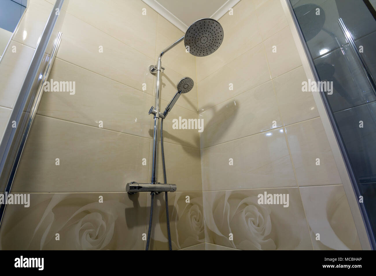 Close Up Of Interior Of New Luxurious Modern Shower Cabin With Light