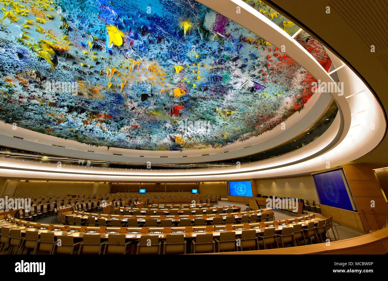 Human Rights and Alliance of Civilization Chamber with ceiling sculpture by Miquel Barceló, Palais des Nations, United Nations, Geneva, Switzerland - Stock Image
