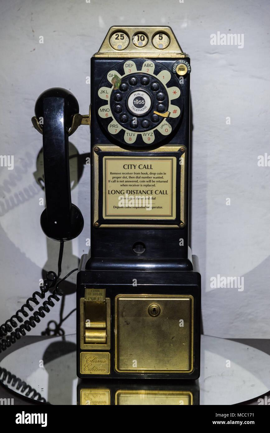 A 1950's dial tone telephone set. - Stock Image