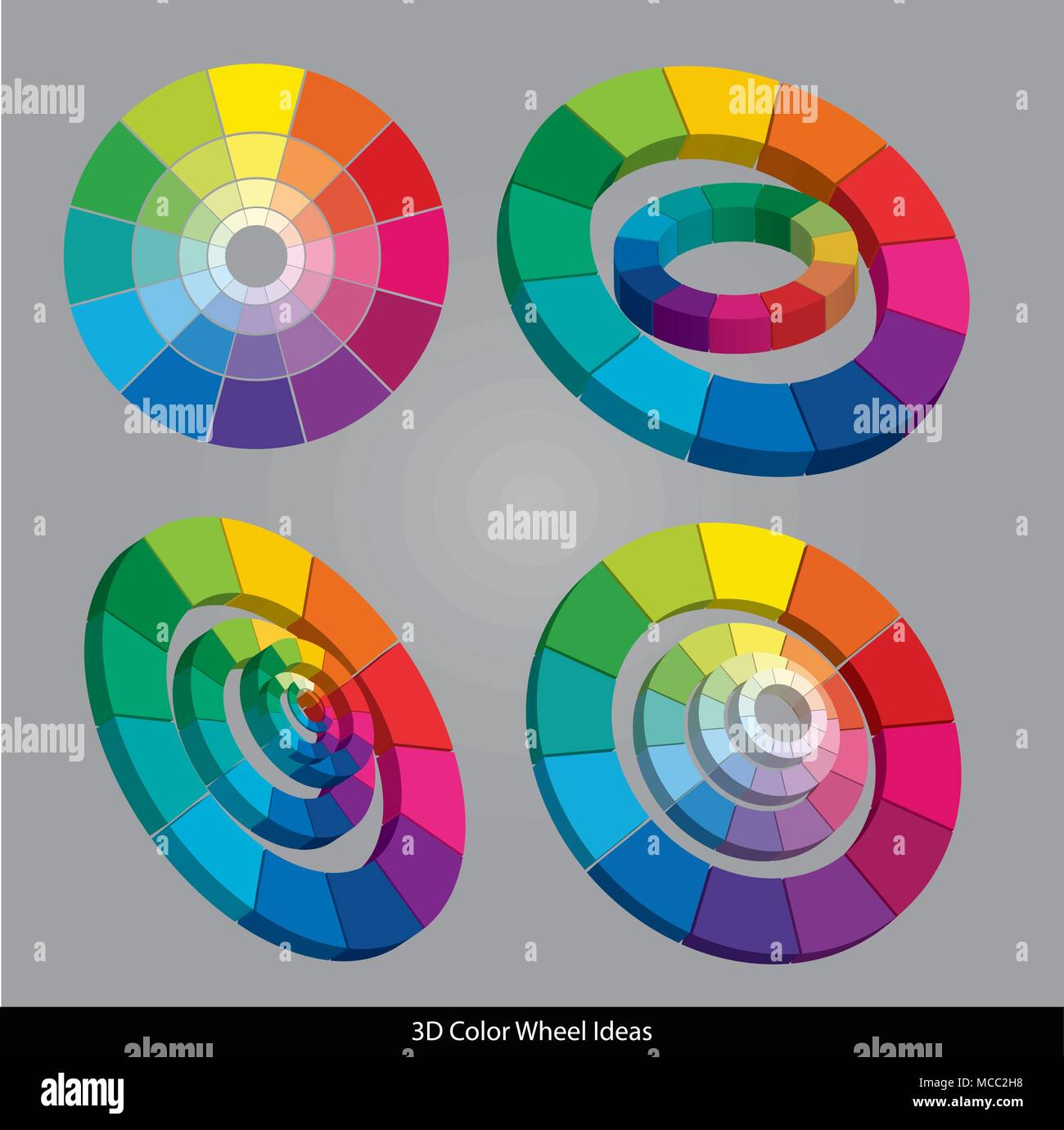 Vector 3d Color Wheels Isolated On Gray Background Stock Vector Art