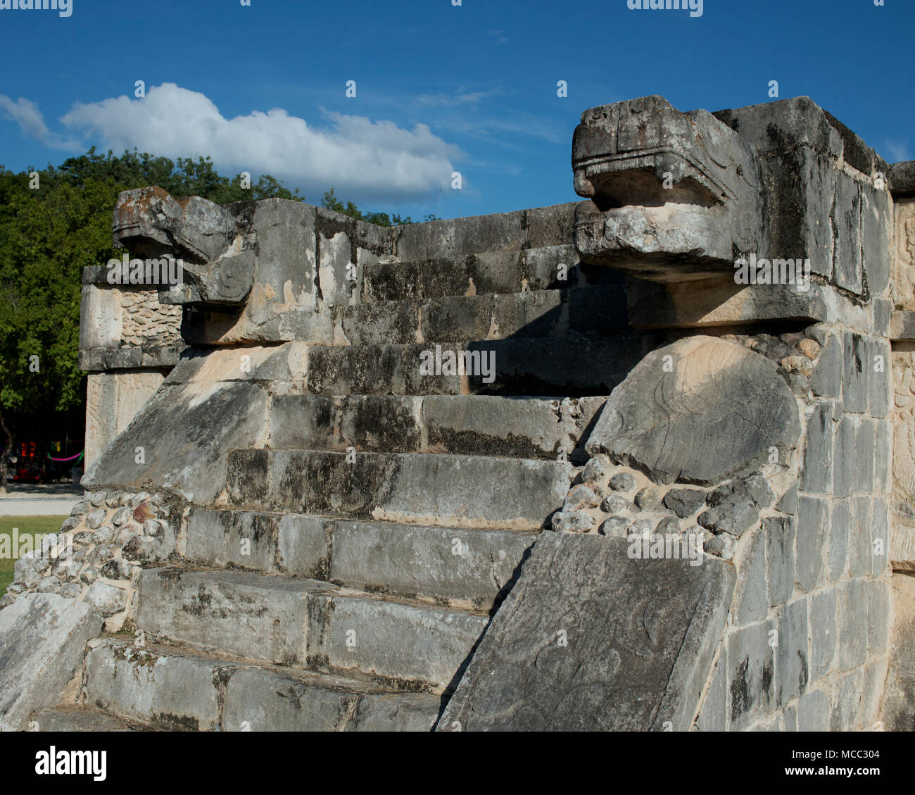 The feathered serpent  Kukulkan at Chichén Itzá, Yucatán State, Mexico was a Maya deity. - Stock Image