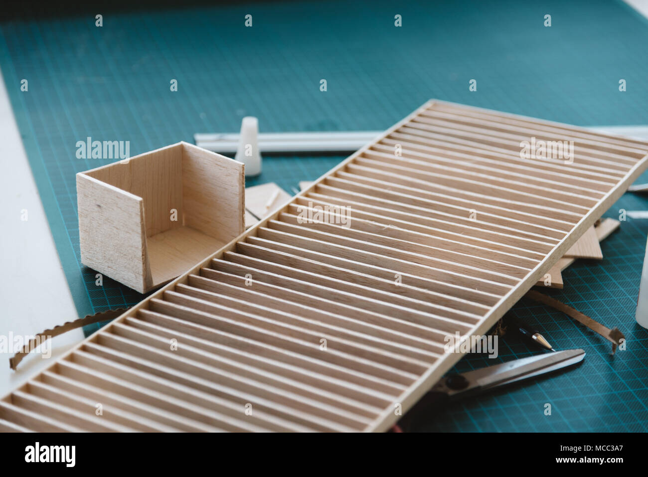 Works of wooden architecture model. Close up - Stock Image