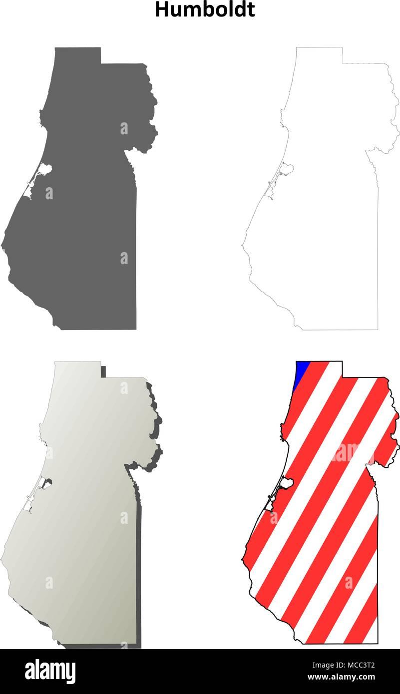 Humboldt County California Outline Map Set Stock Vector Art