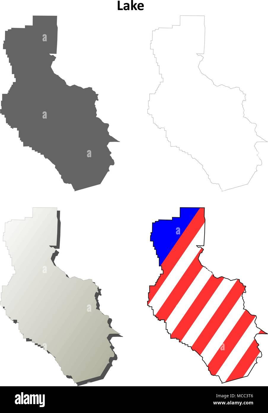 Lake County, California outline map set Stock Vector Art ... on