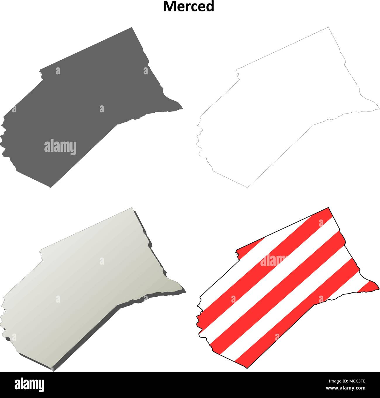Merced County California Outline Map Set Stock Vector Art