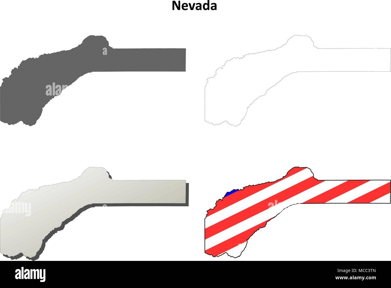 Nevada County California Outline Map Set Stock Vector Art