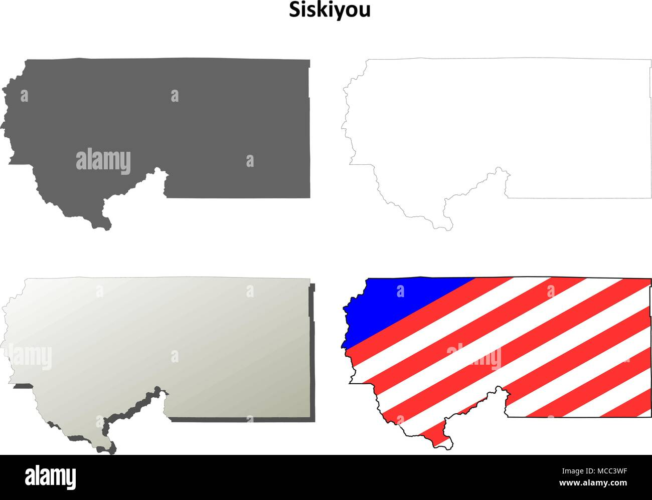 Siskiyou County California Outline Map Set Stock Vector Art