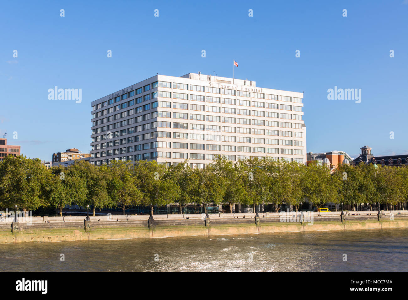 St Thomas' Hospital on the banks of river Thames is a large NHS teaching hospital in Central London, England. - Stock Image