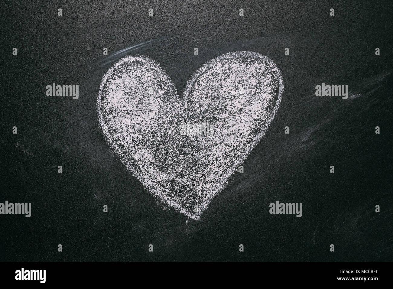 Love Heart Drawing On A School Chalkboard Handwritten Message On A