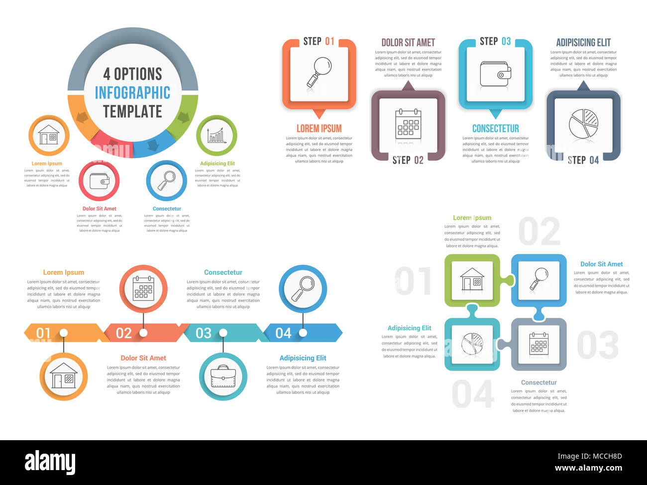 four steps infographic templates, can be used as process, options