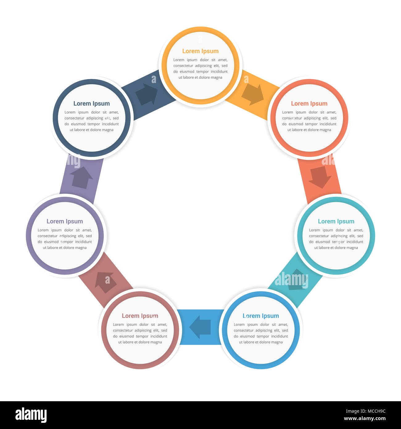 Circle Diagram Infographic Template With Seven Steps Or Options - Workflow process template