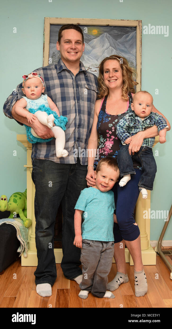 The Kramer Family Poses For A Portrait In Their Home North Beach Md Feb 5 2018 From Left To Right Marley 6 Months Old Kyle 1st Helicopter