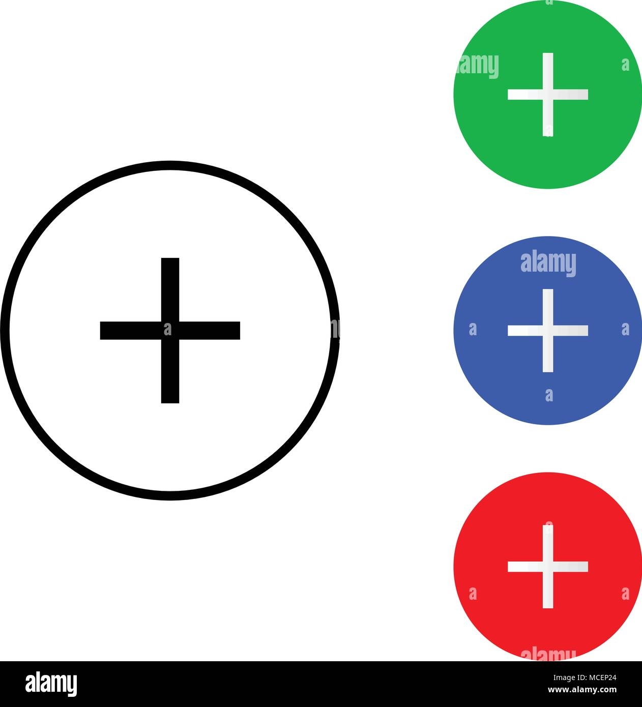 Plus Sign Icon Positive Symbol Zoom In Round Colourful Buttons