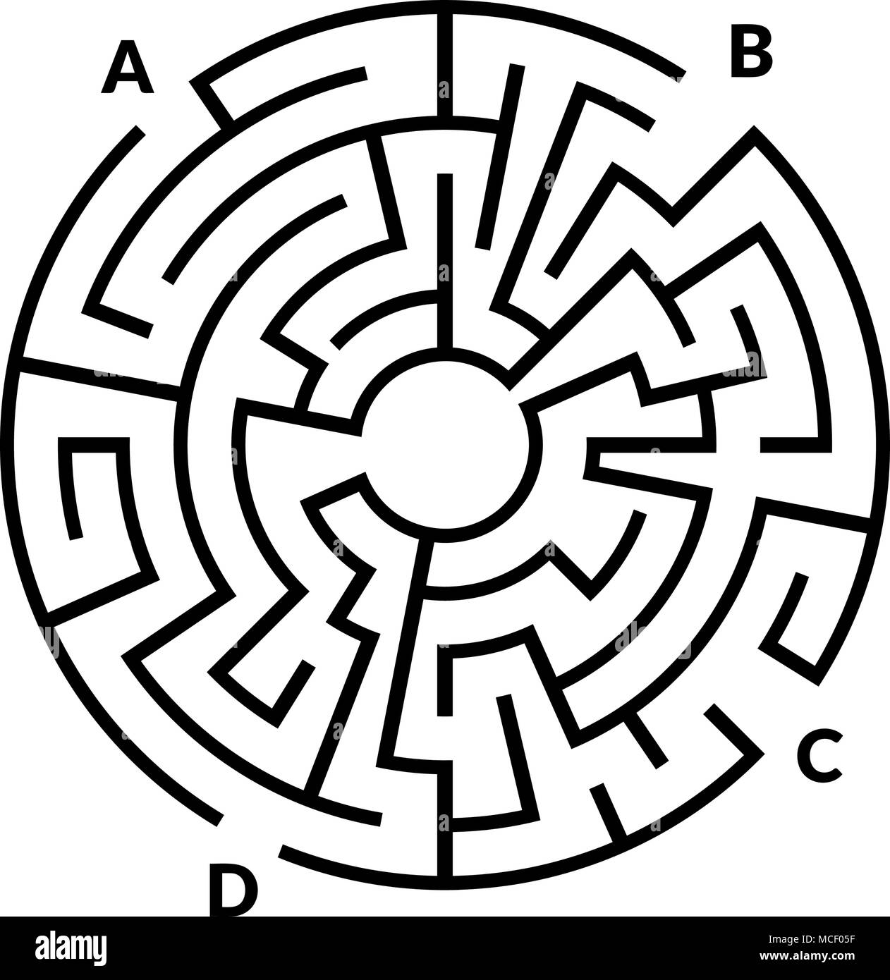 circular maze game isolated on white background stock vector art