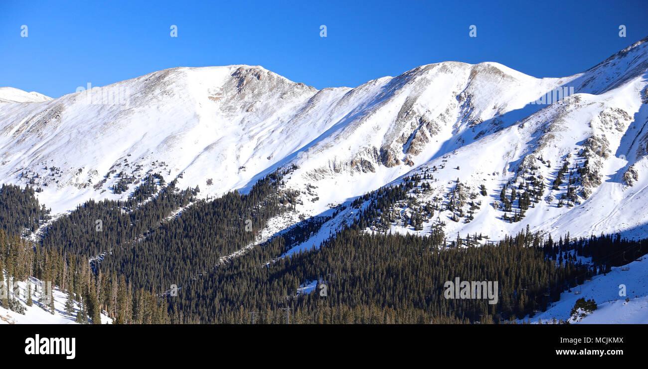 colorado rocky mountains of arapahoe basin ski resort in winter