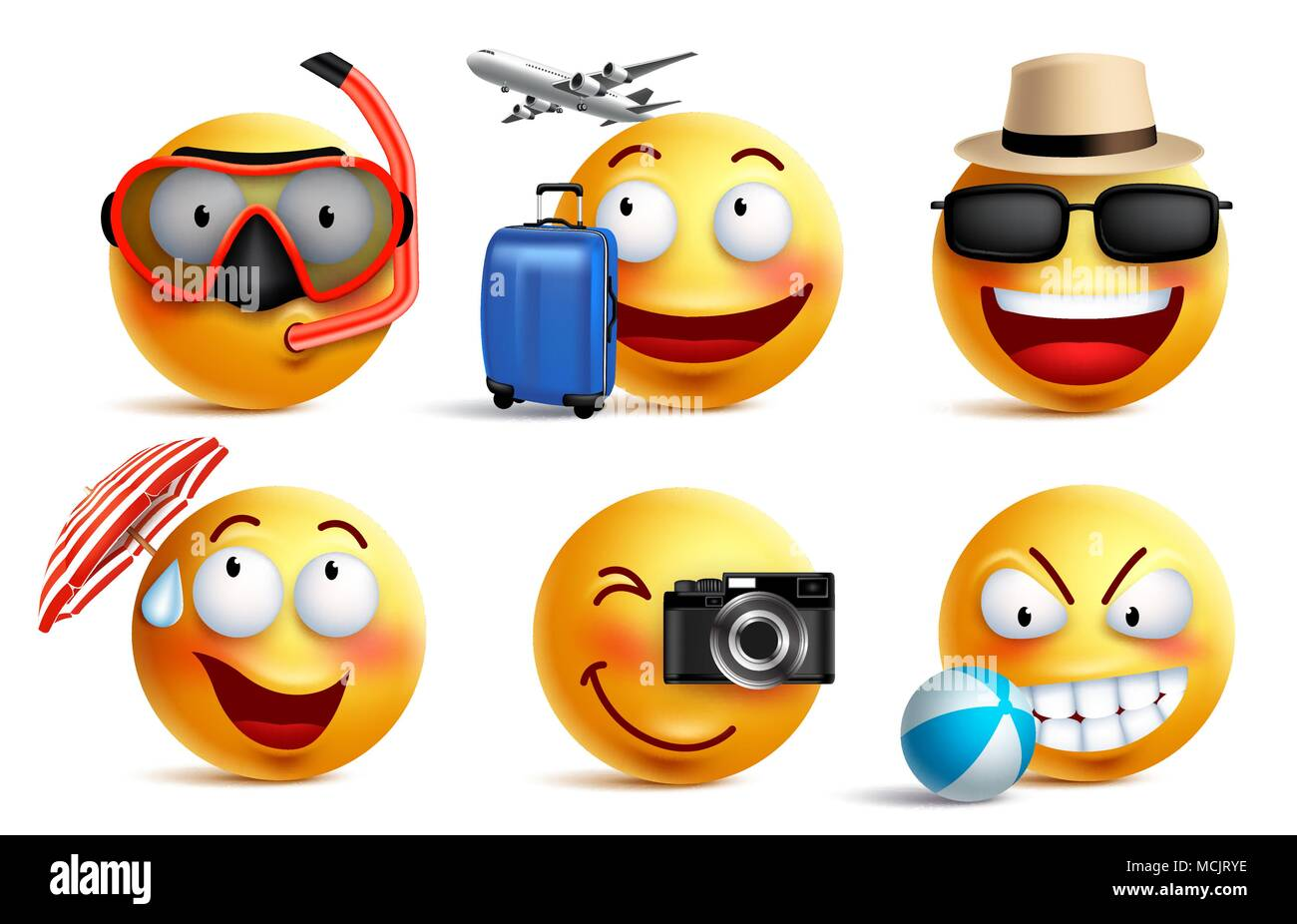 Smileys Vector Set With Summer And Travel Outfits Smiley Face