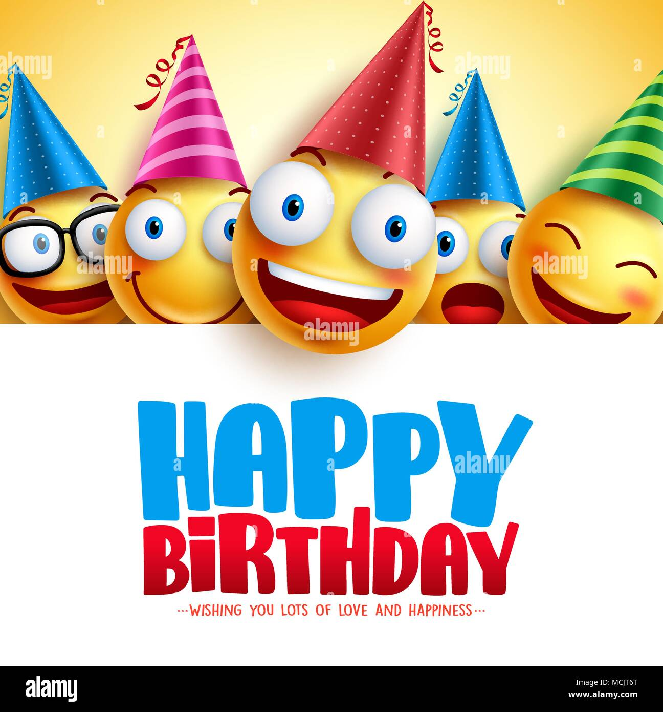 Happy Birthday Smileys Vector Background Design With Yellow Funny And Emoticons Greeting Text In Empty White