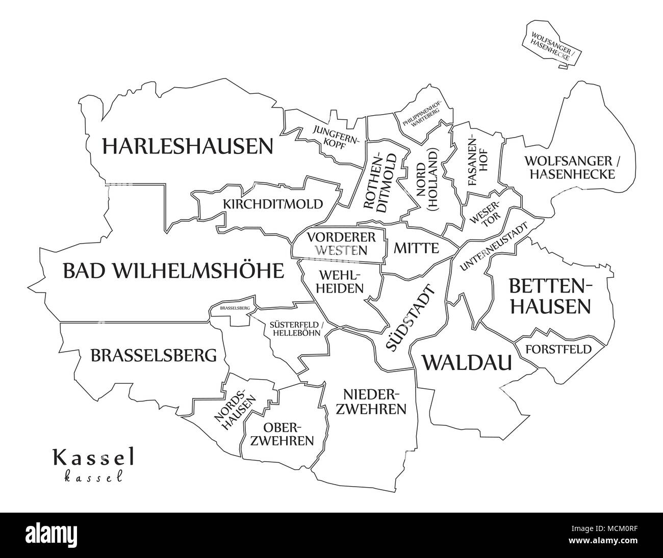 Modern City Map Kassel city of Germany with boroughs and titles DE