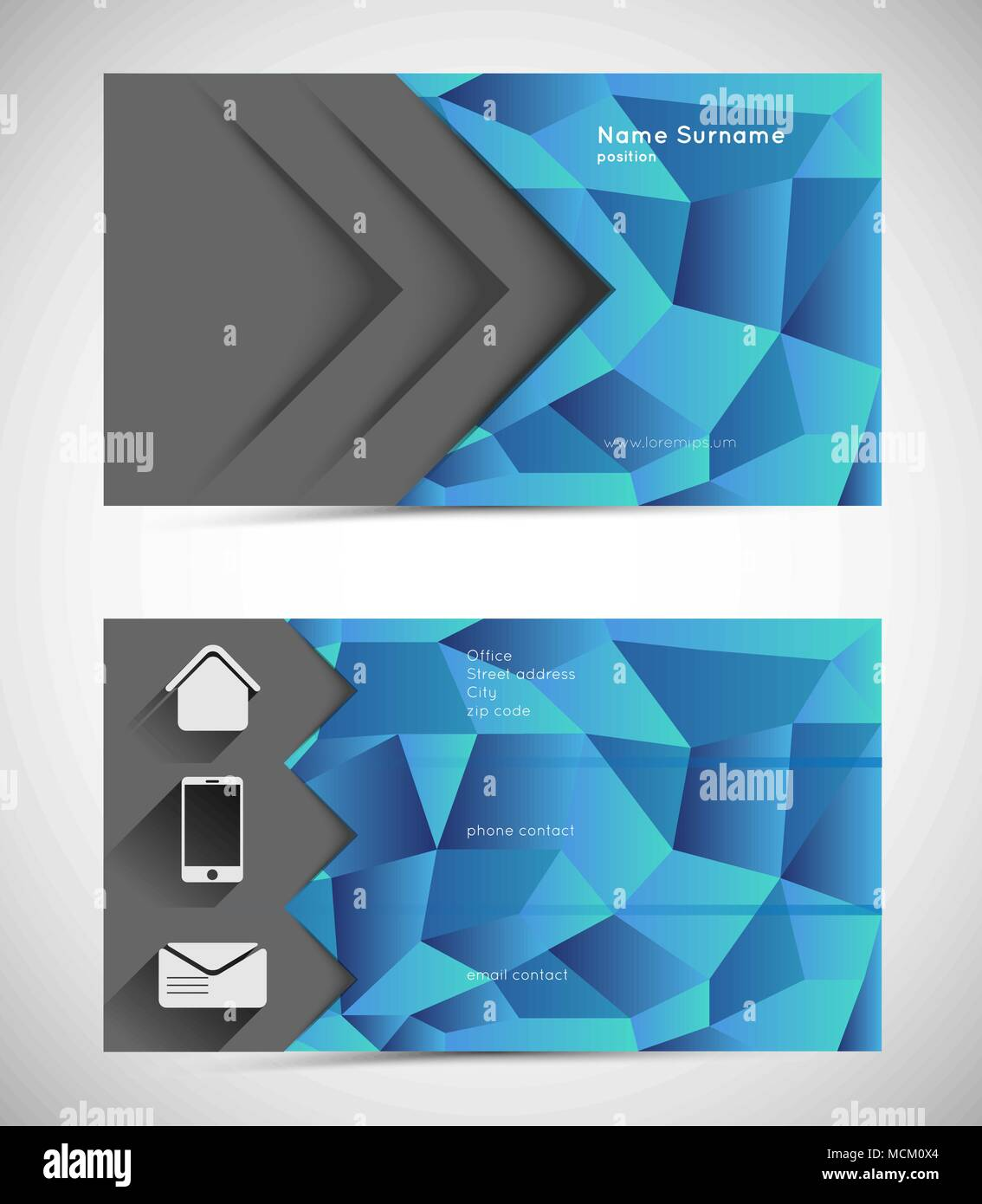 abstract mosaic business card template with icons stock vector art
