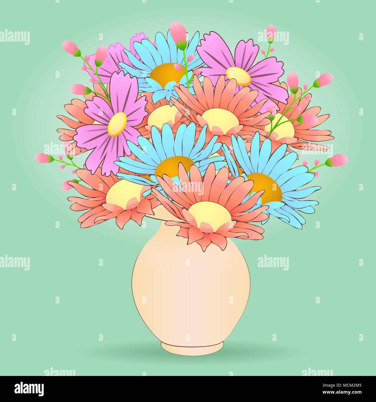 Bouquet Of Cartoon Flowers In The Vase Vector Hand Drawn Colorful Meadow Buds Multicolored Chamomile And Pink Beige Isolated On Pa