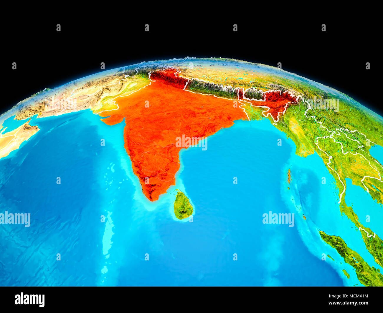 Satellite view of india highlighted in red on planet earth with satellite view of india highlighted in red on planet earth with borderlines 3d illustration elements of this image furnished by nasa gumiabroncs Gallery