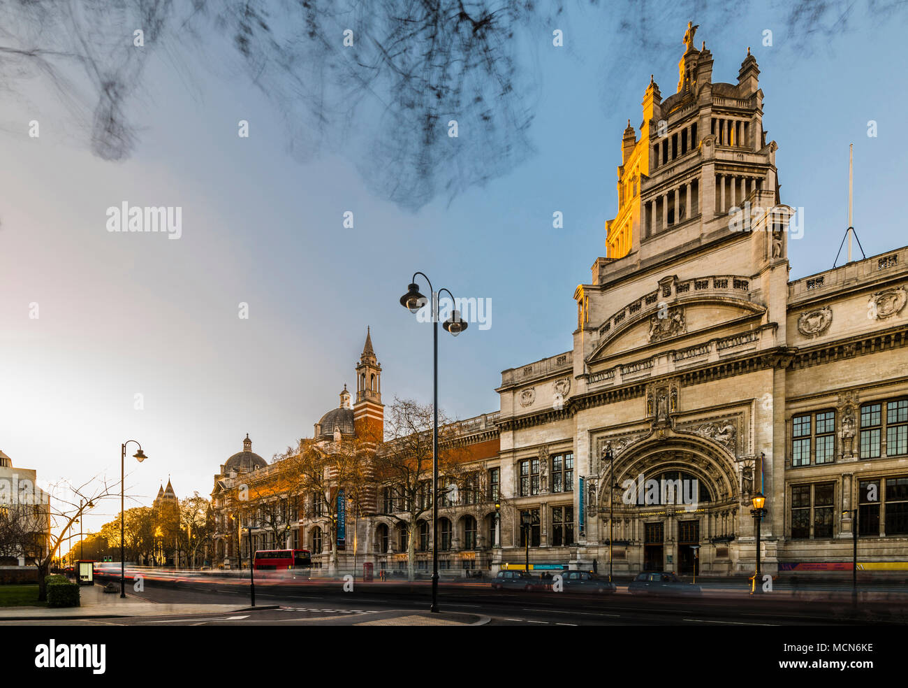 Sunset at the V&A Museum, South Kensington, London, UK - Stock Image