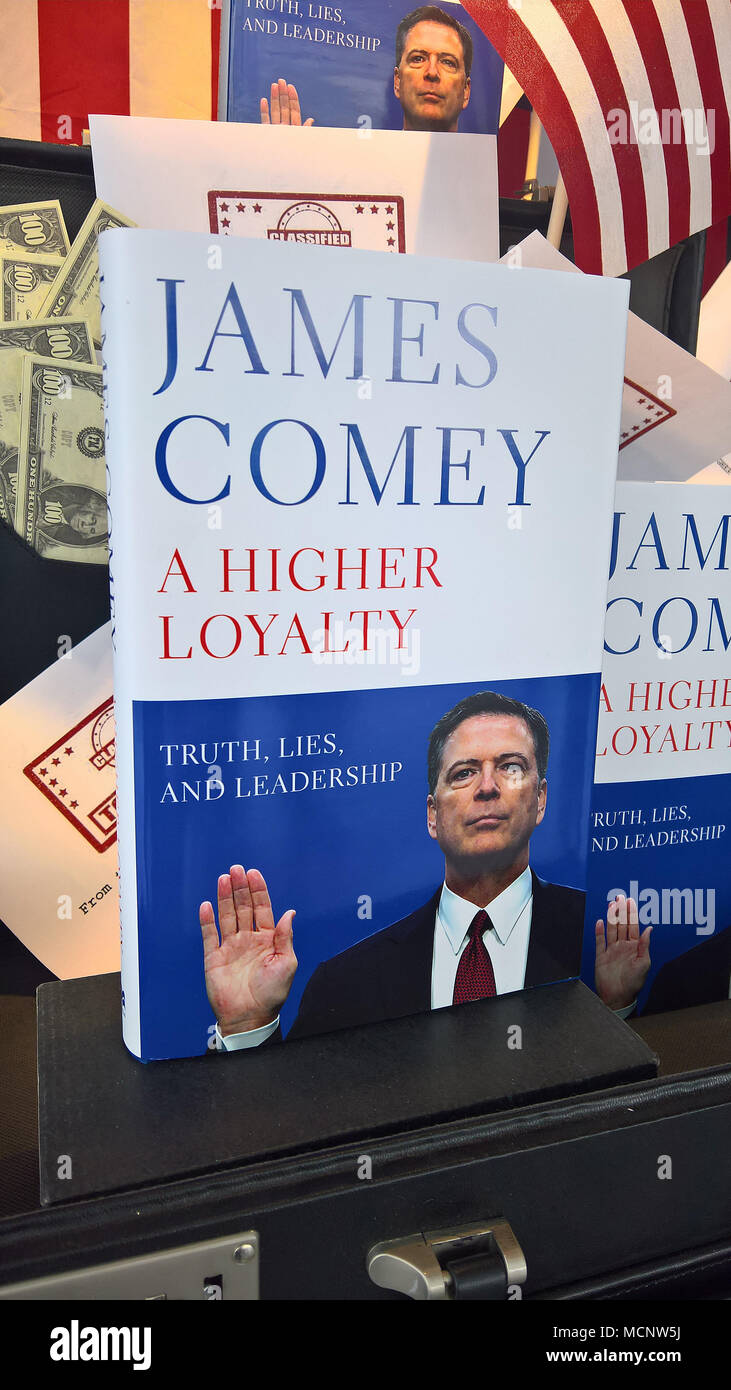 London, UK. 17th April 2018. Former FBI Director James Comey, fired by Donald Trump, is the author of a new book, A Higher Loyalty: Truth, Lies, and Leadership Credit: Rich Gold/Alamy Live News Credit: Rich Gold/Alamy Live News - Stock Image