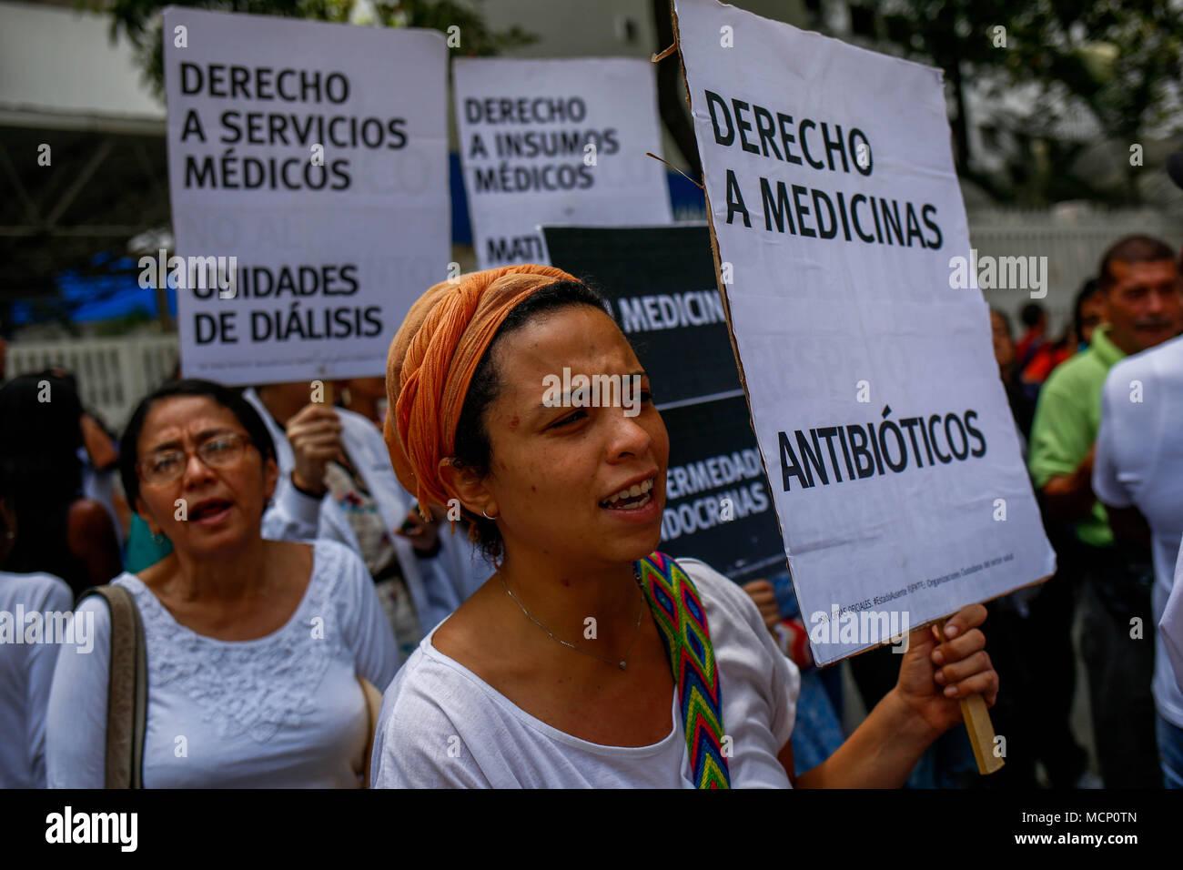 Caracas Venezuela 17th Apr 2018 Hospital Workers And Patients